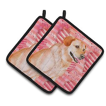 Carolines Treasures  BB9801PTHD Labrador Retriever Love Pair of Pot Holders