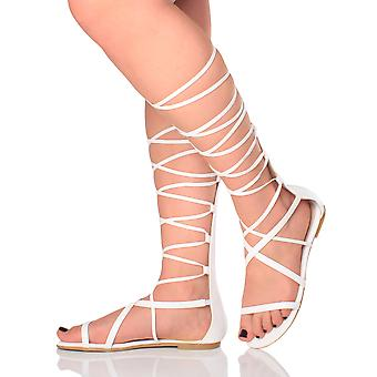Ajvani womens plat strappy lace up tie up been wikkel rond gladiator knie hoog sandalen