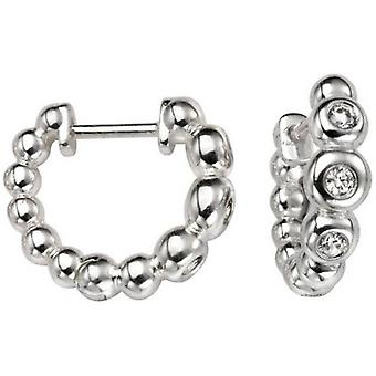 Beginnings Cubic Zirconia Ball Huggie Hoop Earrings - Silver/Clear