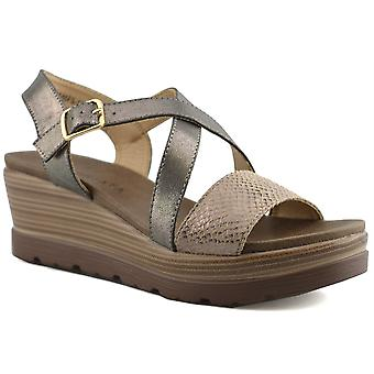 Ladies Womens Crossover Buckle Strap Casual Wedge Sandals Shoes