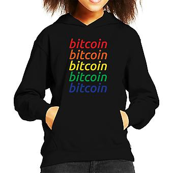 Bitcoin Rainbow Repetition Colour Logo Kid's Hooded Sweatshirt