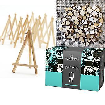 Easelia NATURA - 220pcs sæt med 20 naturlige Mini træbord staffelier 6 tommer + gratis 200 Mini blandet træ hjerter dekorationer - bryllup sted Menu kortholdere Board og Craft-projekter