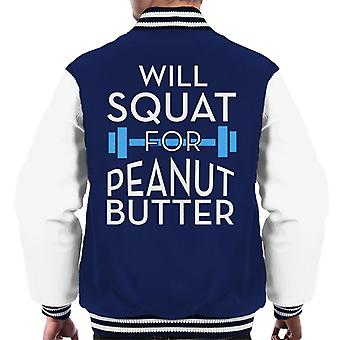 Wird für Erdnussbutter Turnhalle Inspiration Männer Varsity Jacke hocken