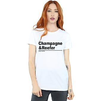 Muddy Waters Women's Champagne and Reefer Slogan Boyfriend Fit T-Shirt