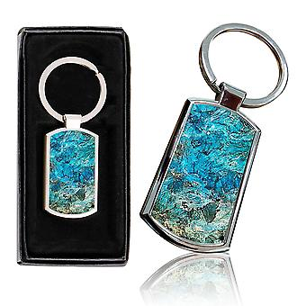 i-Tronixs - Premium Marble Design Chrome Metal Keyring with Free Gift Box (2-Pack) - 0010