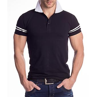 Mens Polo Shirt T-Shirt Print Fight short sleeve Polo black white contrast Shirt