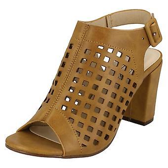 Ladies Spot On Open Toe Cut Out Detail Sandals