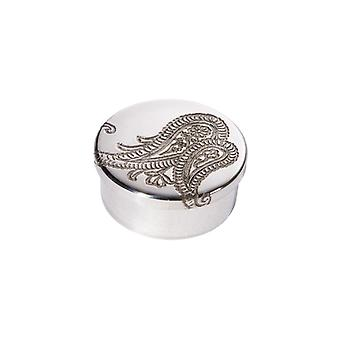 Paisley Embossed Small Pewter Trinket Box