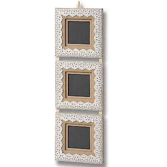 Lace - Hanging Triple 3 Wall Square Photo Frame With Lace Trim - Beige / Cream