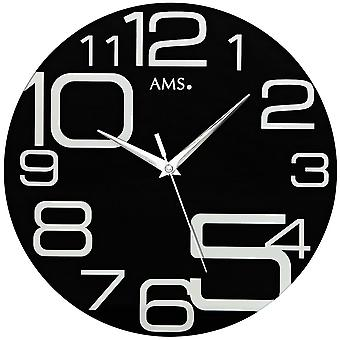 Wall clock, modern wall clock quartz creeping second mineral crystal black printed