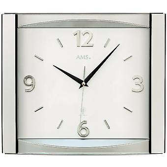 AMS 5614 wall clock radio radio controlled wall clock analog silver with glass