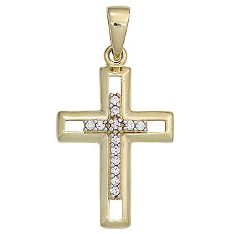 Cross pendant cross gold 333 cubic zirconia LARAMIE for cross chain necklace