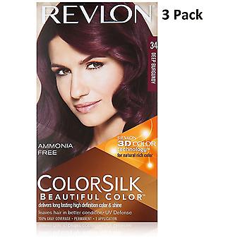 3 X Revlon Colorsilk Ammonia Free Permanent Hair Colour (34 Deep Burgundy)