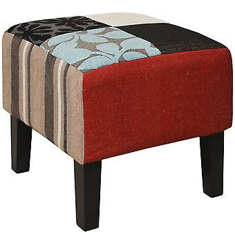 Plush Patchwork - Shabby Chic Square Pouffe Stool / Wood Legs - Blue / Green / Red
