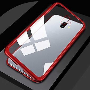 Für Samsung Galaxy J4 Plus J415F Magnet / Metall / Glas Case Bumper Transparent / Rot Tasche Hülle Neu