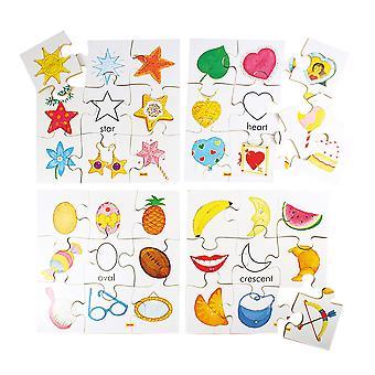 Bigjigs leker tre former gåter sett 2 (sett med 4) pedagogisk Jigsaw barn satt