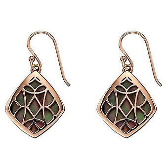 Elements Silver Mother of Pearl Earrings - Black/Rose Gold