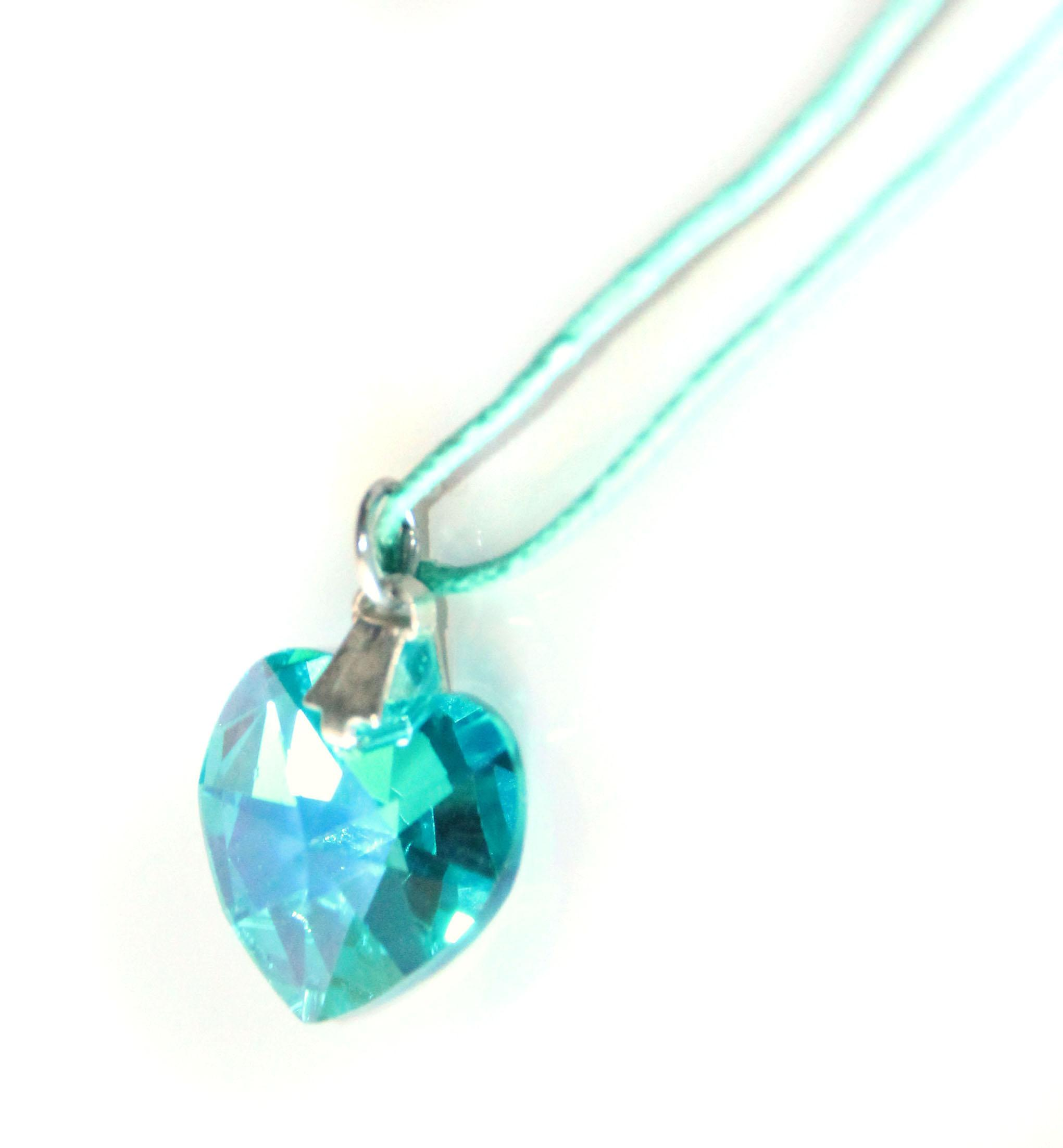 Waooh - Jewelry - Swarovski / turquoise pendant heart with waxed cord