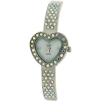 The Olivia Collection Silvertone AB Rhinestones Set MOP Dial Bangle Watch