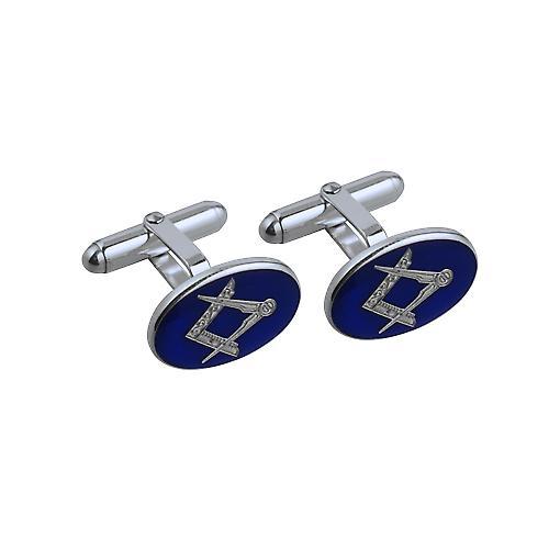 Silver 19x13mm oval cold cure enamel Masonic swivel Cufflinks