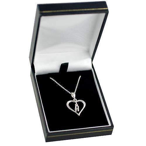 Silver 18x18mm initial H in a heart Pendant with a rolo Chain 14 inches Only Suitable for Children
