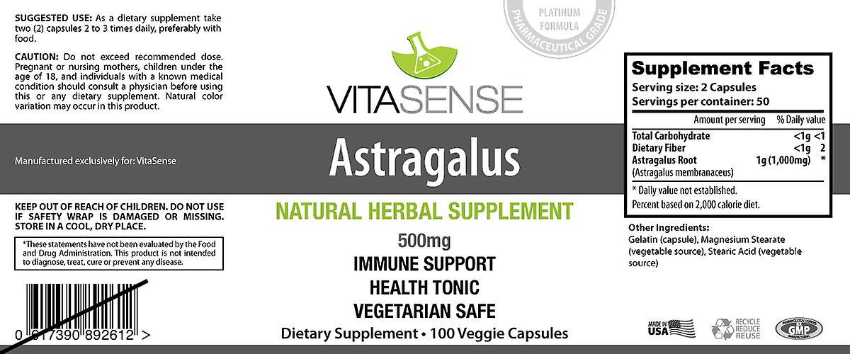 VitaSense Astragalus 500 Mg - immunsystemet støtte - 100 Veg kapsler