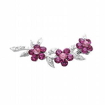 樱 & 玫瑰水晶花银音服饰胸针