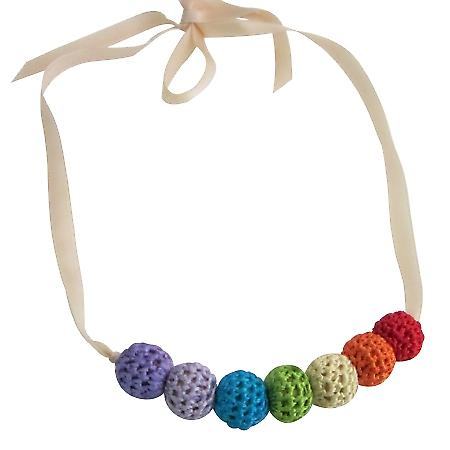 Rainbow Crochet Baby Shower Gift Necklace Jewelry