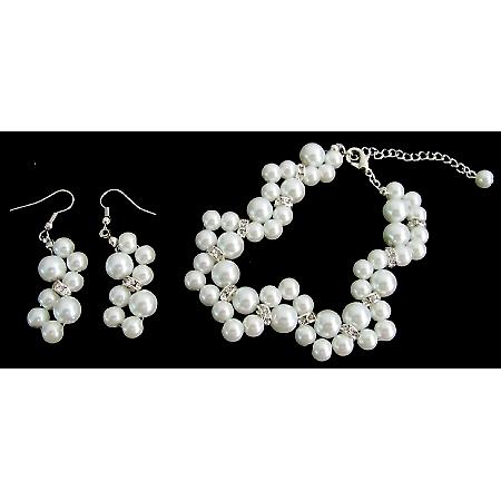 Glass Pearls Wedding Gift White Pearl Bridesmaid Bracelet Earrings Set