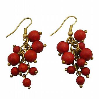 Coral Cluster Earrings Beautiful Gift Red Dangle Gold Oxidized Hook