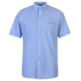 Pierre Cardin Mens Printed Oxford Short Sleeve Shirt Casual Tops