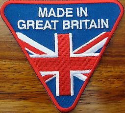 Made In Great Britain iron-on/sew-on cloth patch  (ff triangular)