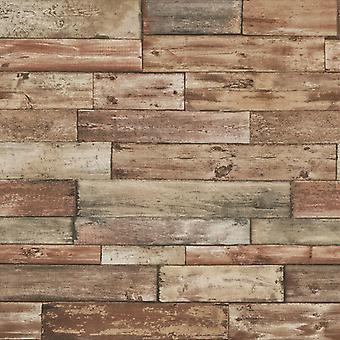 Wyblakły imitacja drewna tapeta Faux panele drewniane deski realistyczne Erismann