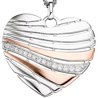 Hangers hart 925 zilveren roos verguld bicolor cubic Zirkonia hart hanger