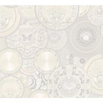Wallpaper de Versace plata diseño lujo clave griega moderna satinado pega la pared