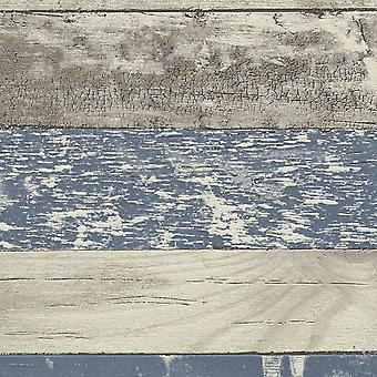 Geschilderde noodlijdende hout behang blauw grijs graan planken Boards plakken muur Vinyl
