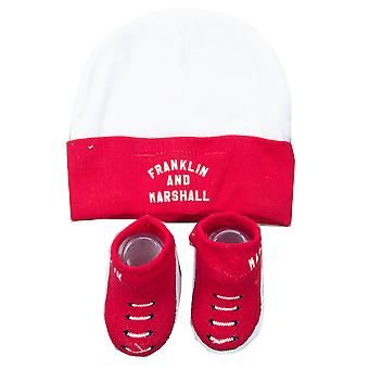 Franklin & Marshall Säugling Baby Todder Hut und Bootie-Set (0-6 Monate) - rot/weiß