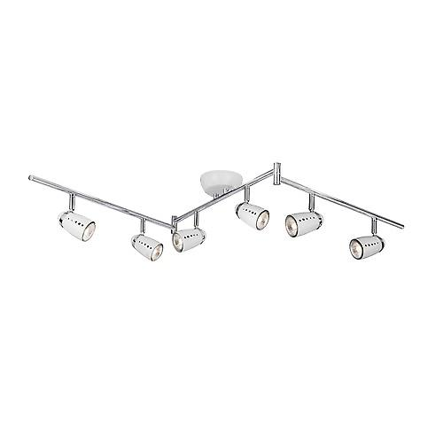 Searchlight 5766WH Pluto 6 Light White And Chrome Egg Split Spot