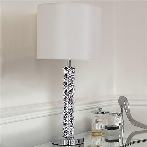 Endon CORTESE Cortese Crystal Table Lamp With Chrome Base And Faux Silk Shade