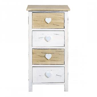 Rebecca Furniture Bedside Tables Romantic drawer 4 drawers white wood light bathroom