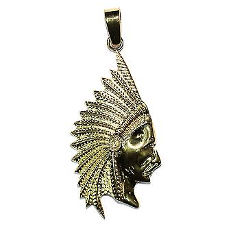 18k Gold Plated Indian Chief Pendant