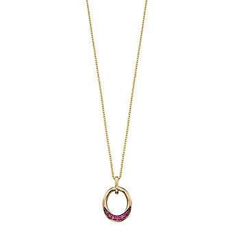 Elements Gold Ruby Open Circle Pendant - Red/Gold