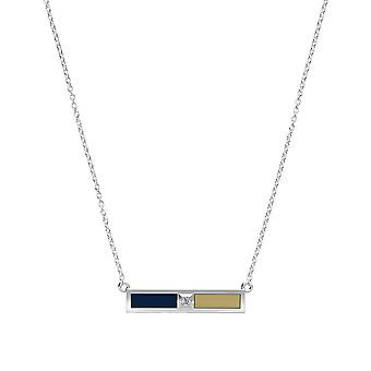 University Of Pittsburgh - Diamond Bar Necklace In Dark Blue And Tan
