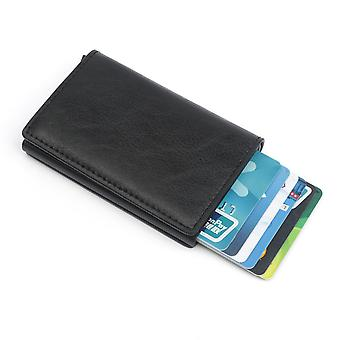 Black RFID-NFC protection leather Wallet card holder 6pcs cards