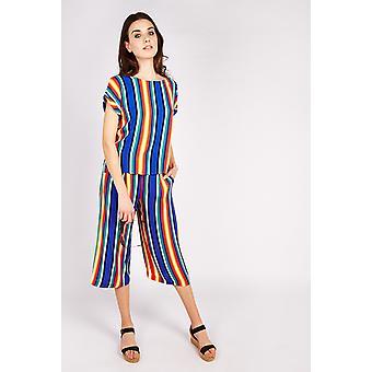 Joy Solen  Stripe Self-Belt Culottes