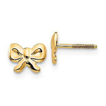 14k Yellow Gold Polished Screw back Bows Screw-Backback for boys or girls Earrings - Measures 5x7mm