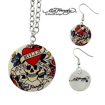 Necklace and Earrings Ed Hardy White skull