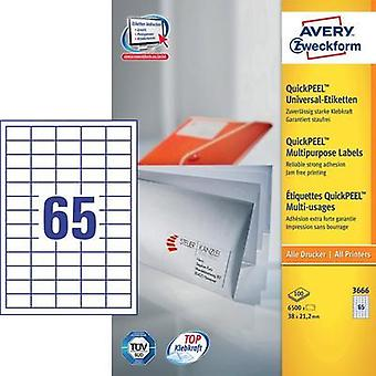 Avery-Zweckform 3666 Labels (A4) 38 x 21.2 mm Paper White 6500 pc(s) Permanent All-purpose labels Inkjet, Laser, Copier