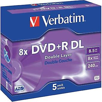 Blank DVD+R DL 8.5 GB Verbatim 43541 5 pc(s) Jewel case
