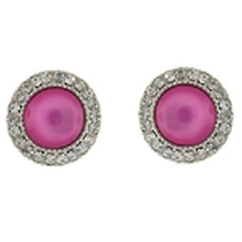 Clip On Earrings Store Glam Liquid Pink Stone and Crystal Circle Button Clip on